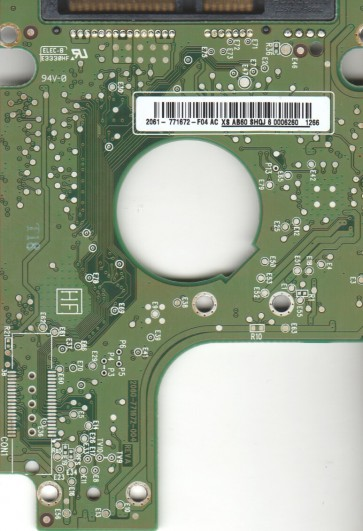 WD2500BEVT-22A23T0, 2061-771672-F04 AC, WD SATA 2.5 PCB