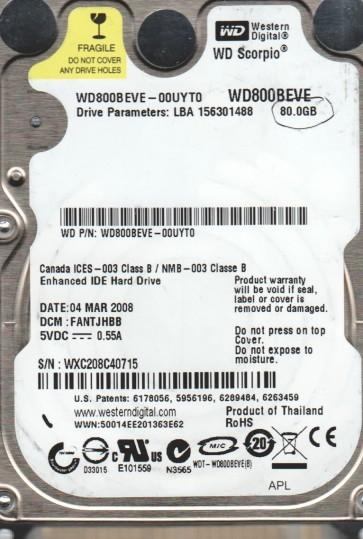 WD800BEVE-00UYT0, DCM FANTJHBB, Western Digital 80GB IDE 2.5 Hard Drive