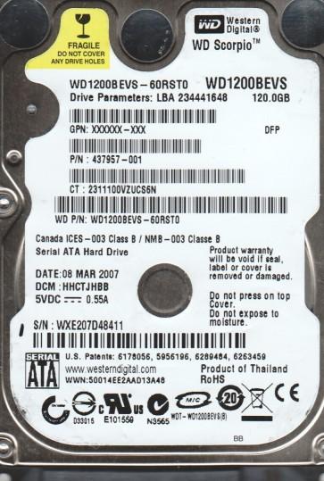 WD1200BEVS-60RST0, DCM HHCTJHBB, Western Digital 120GB SATA 2.5 Hard Drive