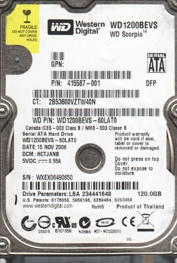 WD1200BEVS-60LAT0, DCM HCTJANB, Western Digital 120GB SATA 2.5 Hard Drive