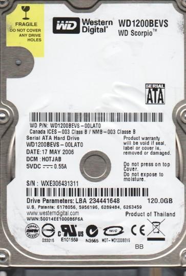 WD1200BEVS-00LAT0, DCM HOTJAB, Western Digital 120GB SATA 2.5 Hard Drive