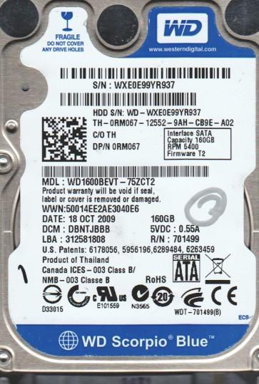 WD1600BEVT-75ZCT2, DCM DBNTJBBB, Western Digital 160GB SATA 2.5 Hard Drive