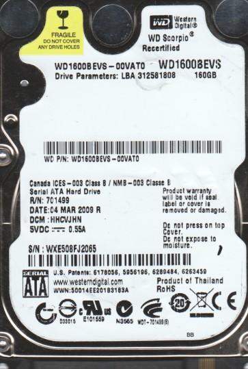 WD1600BEVS-00VAT0, DCM HHCVJHN, Western Digital 160GB SATA 2.5 Hard Drive