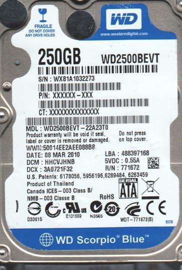 WD2500BEVT-22A23T0, DCM HHCVJHNB, Western Digital 250GB SATA 2.5 Hard Drive