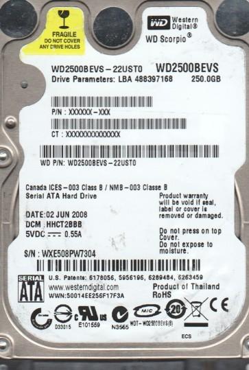 WD2500BEVS-22UST0, DCM HHCT2BBB, Western Digital 250GB SATA 2.5 Hard Drive