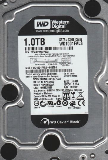 WD1001FALS-00J7B1, DCM HBNNHV2AA, Western Digital 1TB SATA 3.5 Hard Drive