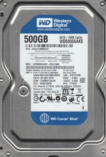 WD5000AAKS-00UU3A0, DCM EHRNHT2AGN, Western Digital 500GB SATA 3.5 Hard Drive
