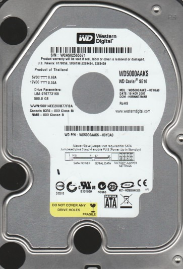 WD5000AAKS-00YGA0, DCM HBRNNT2MAB, Western Digital 500GB SATA 3.5 Hard Drive