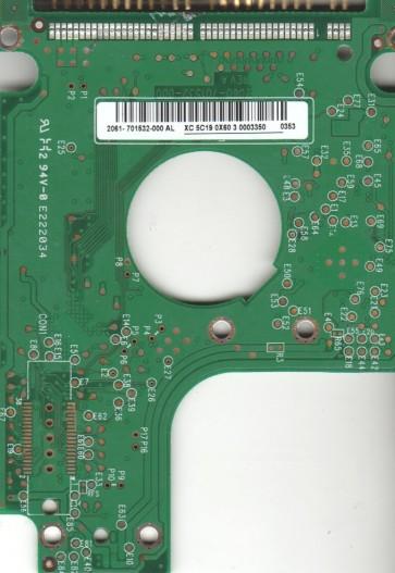 WD2500BEVE-00WZT0, 2061-701532-000 AL, WD IDE 2.5 PCB