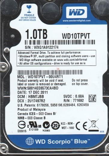 WD10TPVT-00U4RT1, DCM HBMTJBB, Western Digital 1TB SATA 2.5 Hard Drive