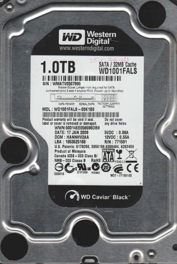 WD1001FALS-00K1B0, DCM HANNHV2AA, Western Digital 1TB SATA 3.5 Hard Drive