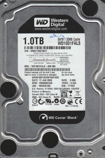 WD1001FALS-00K1B0, DCM HBNNNV2AB, Western Digital 1TB SATA 3.5 Hard Drive