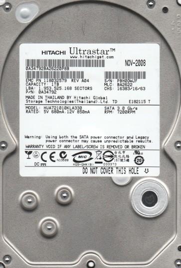 HUA721010KLA330, PN 0A34792, MLC BA2622, Hitachi 1TB SATA 3.5 Hard Drive