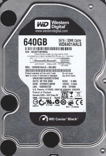 WD6401AALS-00L3B2, DCM HHNNHTJMHB, Western Digital 640GB SATA 3.5 Hard Drive