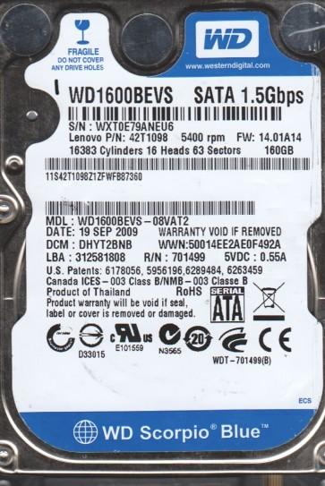 WD1600BEVS-08VAT2, DCM DHYT2BNB, Western Digital 160GB SATA 2.5 Hard Drive