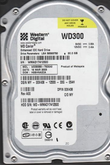 WD300BB-75DEA0, DCM HSBHNA2CA, Western Digital 30GB IDE 3.5 Hard Drive