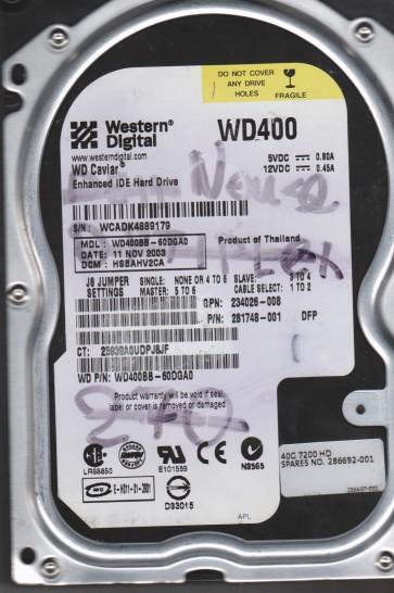 WD400BB-60DGA0, DCM HSBAHV2CA, Western Digital 40GB IDE 3.5 Hard Drive