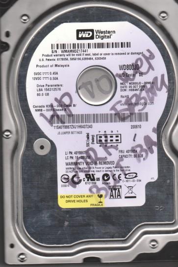 WD800JD-08MSA1, DCM HSBANTJCA, Western Digital 80GB SATA 3.5 Hard Drive