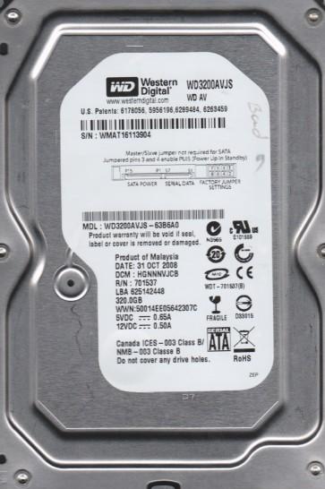 WD3200AVJS-63B6A0, DCM HGNNNVJCB, Western Digital 320GB SATA 3.5 Hard Drive