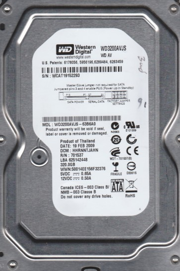 WD3200AVJS-63B6A0, DCM HHRNNTJAHN, Western Digital 320GB SATA 3.5 Hard Drive