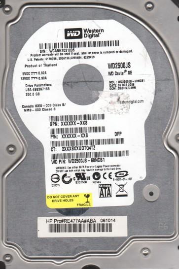 WD2500JS-60NCB1, DCM DSBHNTJAHN, Western Digital 250GB SATA 3.5 Hard Drive