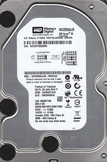WD2500AAJB-00WGA0, DCM HARNHTJCH, Western Digital 250GB IDE 3.5 Hard Drive