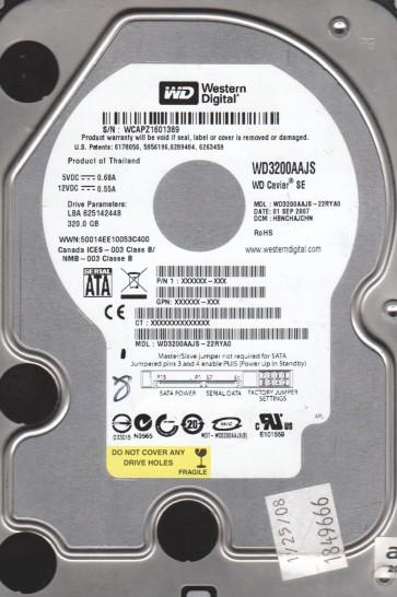 WD3200AAJS-22RYA0, DCM HBNCHAJCHN, Western Digital 320GB SATA 3.5 Hard Drive