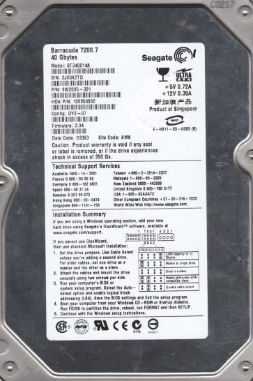 ST340014A, 3JX, AMK, PN 9W2005-301, FW 3.04, Seagate 40GB IDE 3.5 Hard Drive