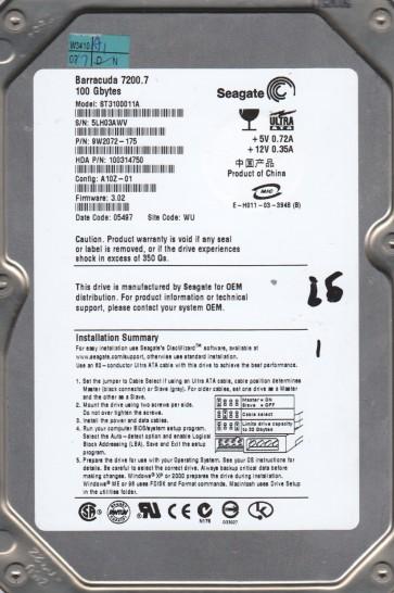 ST3100011A, 5LH, WU, PN 9W2072-175, FW 3.02, Seagate 100GB IDE 3.5 Hard Drive