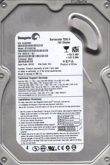 ST3120213A, 5LS, WU, PN 9BD01C-301, FW 2AAA, Seagate 120GB IDE 3.5 Hard Drive