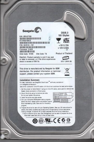 ST3160215ACE, 9RX, TK, PN 9CZ012-191, FW 3.ACB, Seagate 160GB IDE 3.5 Hard Drive