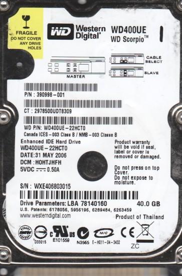 WD400UE-22HCT0, DCM HOHTJHFH, Western Digital 40GB IDE 2.5 Hard Drive