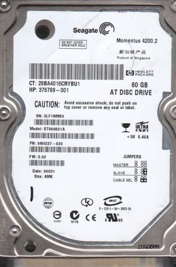 ST960821A, 3LF, AMK, PN 9AH237-020, FW 3.02, Seagate 60GB IDE 2.5 Hard Drive