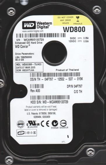 WD800BB-75JHC0, DCM HSCAYTJAA, Western Digital 80GB IDE 3.5 Hard Drive