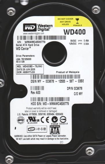WD400BD-75LRA0, DCM HSBHYTJCH, Western Digital 40GB SATA 3.5 Hard Drive
