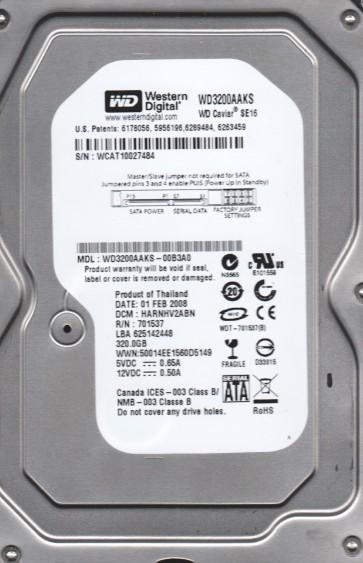 WD3200AAKS-00B3A0, DCM HARNHV2ABN, Western Digital 320GB SATA 3.5 Hard Drive