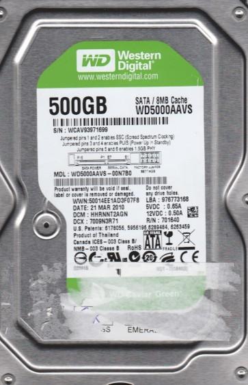 WD5000AAVS-00N7B0, DCM HHRNNT2AGN, Western Digital 500GB SATA 3.5 Hard Drive