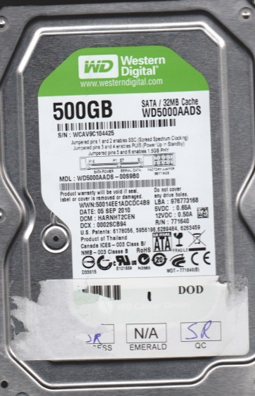 WD5000AADS-00S9B0, DCM HARNHT2CEN, Western Digital 500GB SATA 3.5 Hard Drive