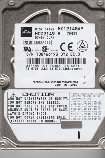 MK1214GAP, B0/N0.15G, HDD2149 B ZE01, Toshiba 12GB IDE 2.5 Hard Drive