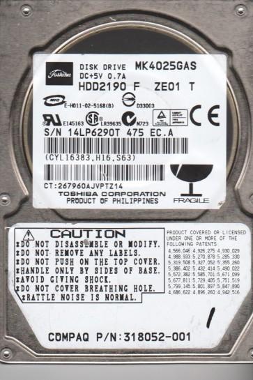 MK4025GAS, B0/KA101A, HDD2190 F ZE01 T, Toshiba 40GB IDE 2.5 Hard Drive