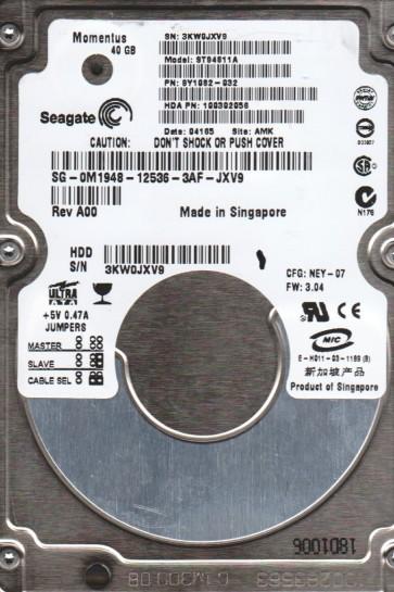 ST94811A, 3KW, AMK, PN 9Y1082-032, FW 3.04, Seagate 40GB IDE 2.5 Hard Drive