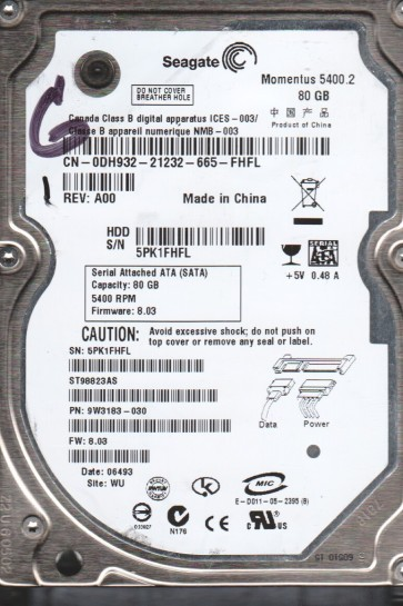 ST98823AS, 5PK, WU, PN 9W3183-030, FW 8.03, Seagate 80GB SATA 2.5 Hard Drive