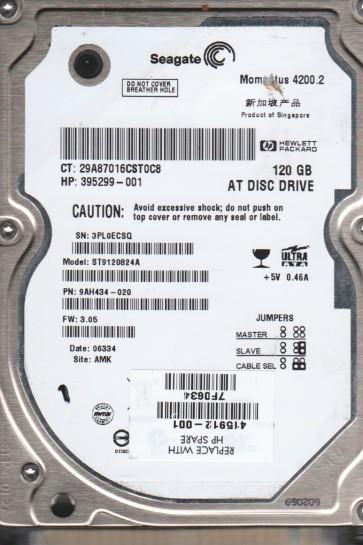 ST9120824A, 3PL, AMK, PN 9AH434-020, FW 3.05, Seagate 120GB IDE 2.5 Hard Drive