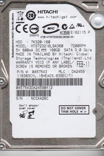 HTS723216L9A360, PN 0A57543, MLC DA2459, Hitachi 160GB SATA 2.5 Hard Drive
