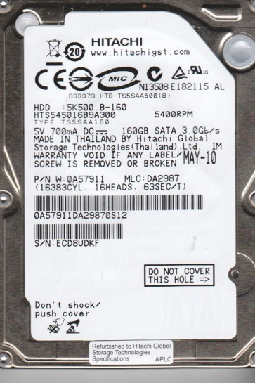HTS545016B9A300, PN 0A57911, MLC DA2987, Hitachi 160GB SATA 2.5 Hard Drive