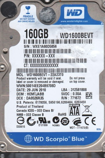 WD1600BEVT-22A23T0, DCM HEMTJABB, Western Digital 160GB SATA 2.5 Hard Drive