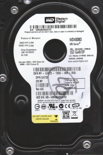 WD400BD-75MRA3, DCM HSBHNTJAH, Western Digital 40GB SATA 3.5 Hard Drive