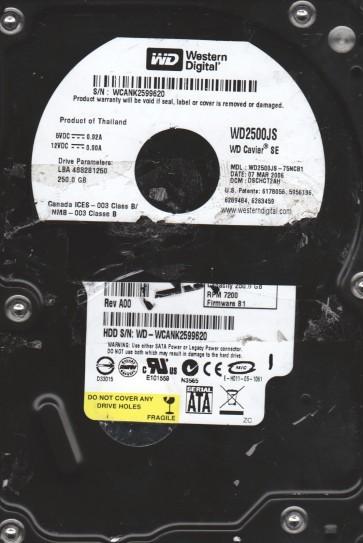 WD2500JS-75NCB1, DCM DSCHCT2AH, Western Digital 250GB SATA 3.5 Hard Drive
