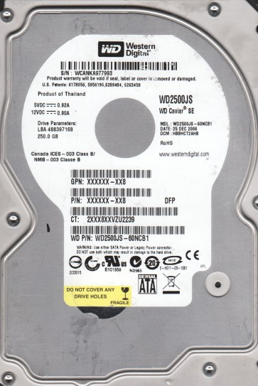 WD2500JS-60NCB1, DCM HBBHCT2AHB, Western Digital 250GB SATA 3.5 Hard Drive