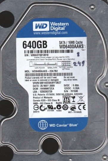 WD6400AAKS-22A7B2, DCM HHNNNT2CA, Western Digital 640GB SATA 3.5 Hard Drive